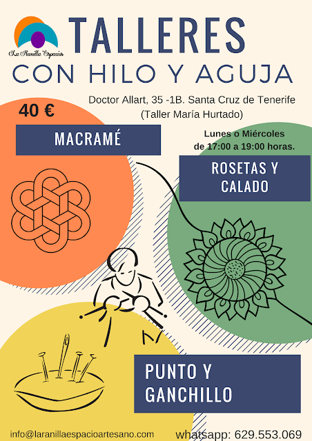 Talleres con Hilo y Aguja en el Taller de María Hurtado de Santa Cruz de Tenerife para los que no puedan acercarse a Puerto de la Cruz